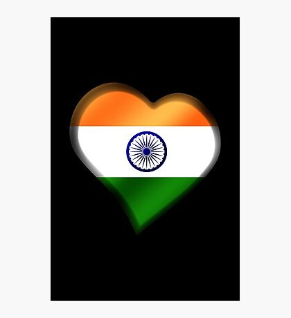 Indian Flag - India - Heart Photographic Print