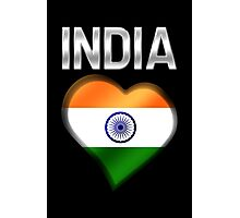India - Indian Flag Heart & Text - Metallic Photographic Print
