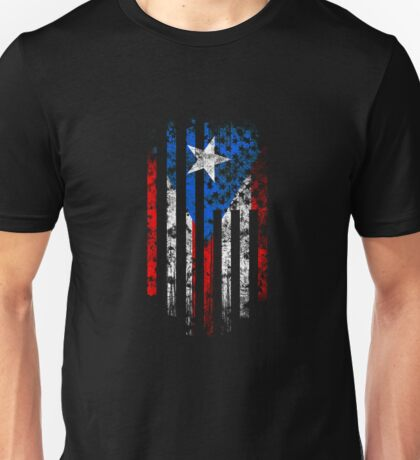 Puerto Rico and America Flag Combo Distressed Design Unisex T-Shirt