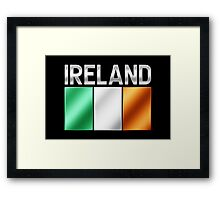 Ireland - Irish Flag & Text - Metallic Framed Print