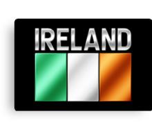 Ireland - Irish Flag & Text - Metallic Canvas Print