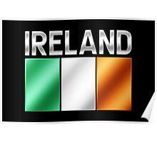 Ireland - Irish Flag & Text - Metallic Poster