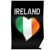 Ireland - Irish Flag Heart & Text - Metallic Poster