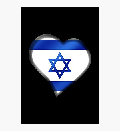 Israeli Flag - Israel - Heart Photographic Print