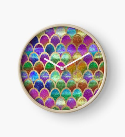 Rainbow mermaid scales Clock