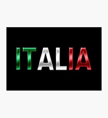Italia - Italian Flag - Metallic Text Photographic Print