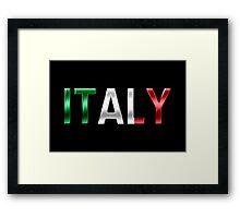 Italy - Italian Flag - Metallic Text Framed Print