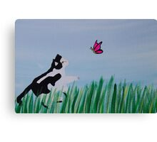 Cat Chasing A Butterfly Canvas Print