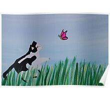 Cat Chasing A Butterfly Poster