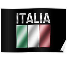 Italia - Italian Flag & Text - Metallic Poster