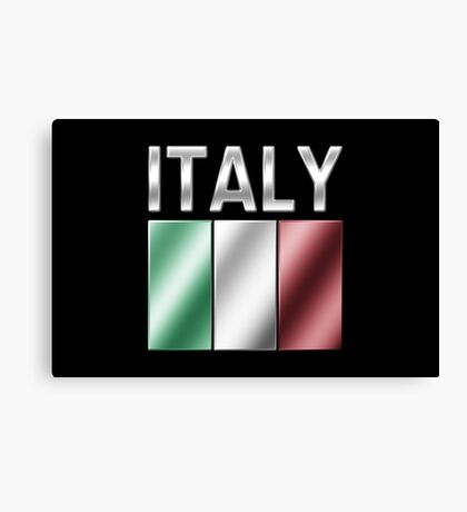 Italy - Italian Flag & Text - Metallic Canvas Print