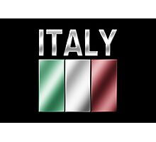 Italy - Italian Flag & Text - Metallic Photographic Print