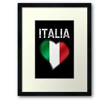 Italia - Italian Flag Heart & Text - Metallic Framed Print
