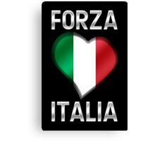 Forza Italia - Italian Flag Heart & Text - Metallic Canvas Print
