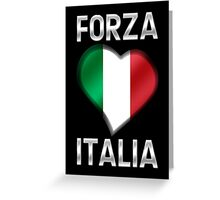 Forza Italia - Italian Flag Heart & Text - Metallic Greeting Card