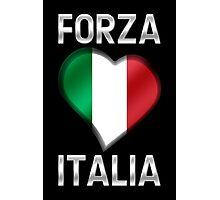 Forza Italia - Italian Flag Heart & Text - Metallic Photographic Print