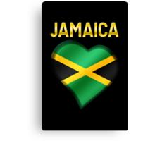 Jamaica - Jamaican Flag Heart & Text - Metallic Canvas Print