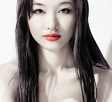 Sensual artistic beauty portrait of young asian woman face art photo print by ArtNudePhotos
