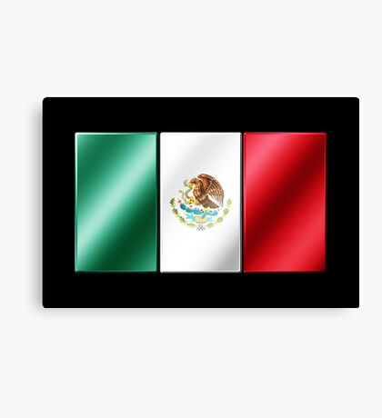 Mexican Flag - Mexico - Metallic Canvas Print