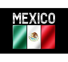Mexico - Mexican Flag & Text - Metallic Photographic Print