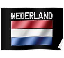 Nederland - Dutch Flag & Text - Metallic Poster