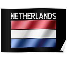 Netherlands - Dutch Flag & Text - Metallic Poster