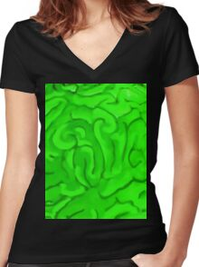 BRAINS (Zombies) Women's Fitted V-Neck T-Shirt