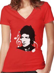 Bob Dylan - Stylized White Ver. Women's Fitted V-Neck T-Shirt