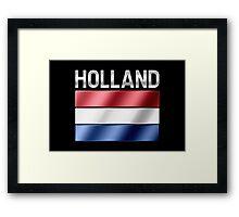 Holland - Dutch Flag & Text - Metallic Framed Print