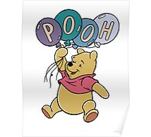 Winnie the Pooh with Balloons Poster