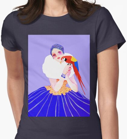 Vintage Dancer With Parrot Womens Fitted T-Shirt