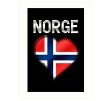 Norge - Norwegian Flag Heart & Text - Metallic Art Print