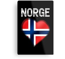 Norge - Norwegian Flag Heart & Text - Metallic Metal Print