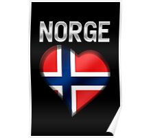 Norge - Norwegian Flag Heart & Text - Metallic Poster