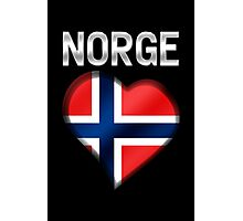 Norge - Norwegian Flag Heart & Text - Metallic Photographic Print