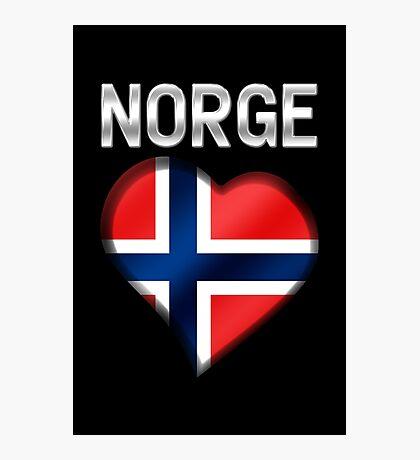 Norge - Norwegian Flag Heart & Text - Metallic Photographic Print