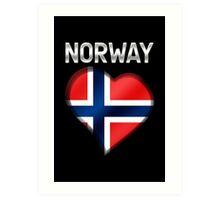Norway - Norwegian Flag Heart & Text - Metallic Art Print