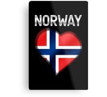 Norway - Norwegian Flag Heart & Text - Metallic Metal Print