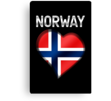 Norway - Norwegian Flag Heart & Text - Metallic Canvas Print