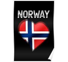 Norway - Norwegian Flag Heart & Text - Metallic Poster