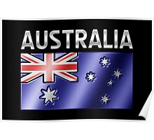 Australia - Australian Flag & Text - Metallic Poster