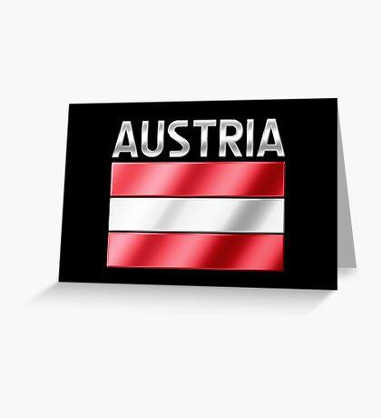 Austria - Austrian Flag & Text - Metallic Greeting Card