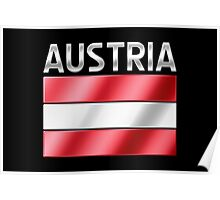 Austria - Austrian Flag & Text - Metallic Poster