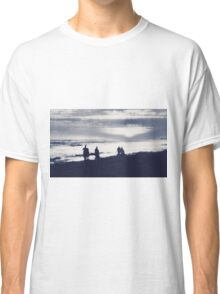 watching sunset at the beach in black and white Classic T-Shirt