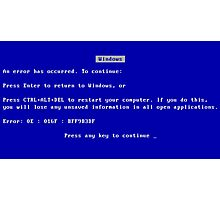 Blue Screen of Death (BSOD) Photographic Print