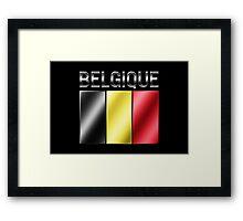 Belgique - Belgian Flag & Text - Metallic Framed Print