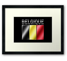 Belgique - Belgian Flag & Text - Metallic Framed Print