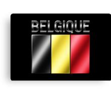 Belgique - Belgian Flag & Text - Metallic Canvas Print