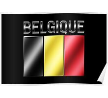 Belgique - Belgian Flag & Text - Metallic Poster