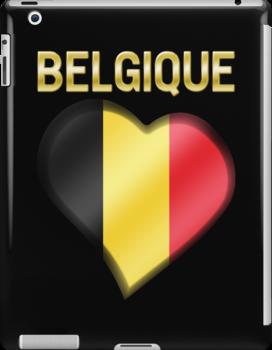 Belgique - Belgian Flag Heart & Text - Metallic by graphix
